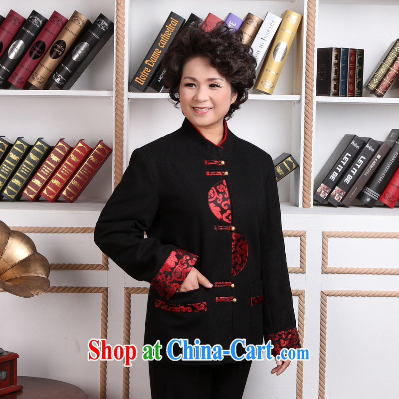 Jing An older woman with short winter clothes T-shirt jacket, for Chinese female wool jacket? Tang - 2 black 3 XL