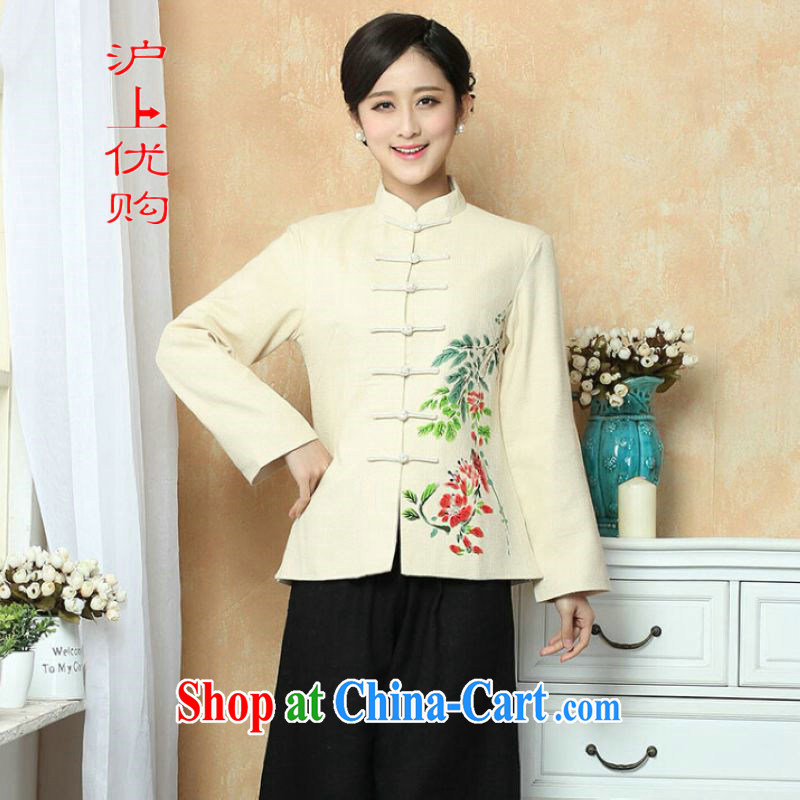Shanghai, optimize purchase female Chinese Winter load T-shirt jacket, cotton for the Tang with T-shirt national costume show clothing - 1 beige 3XL