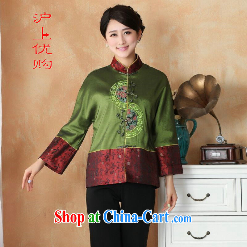 Shanghai, optimize purchase female Tang with autumn and winter Load T-shirt jacket, collar damask Chinese T-shirt national costume - 2 green 3 XL
