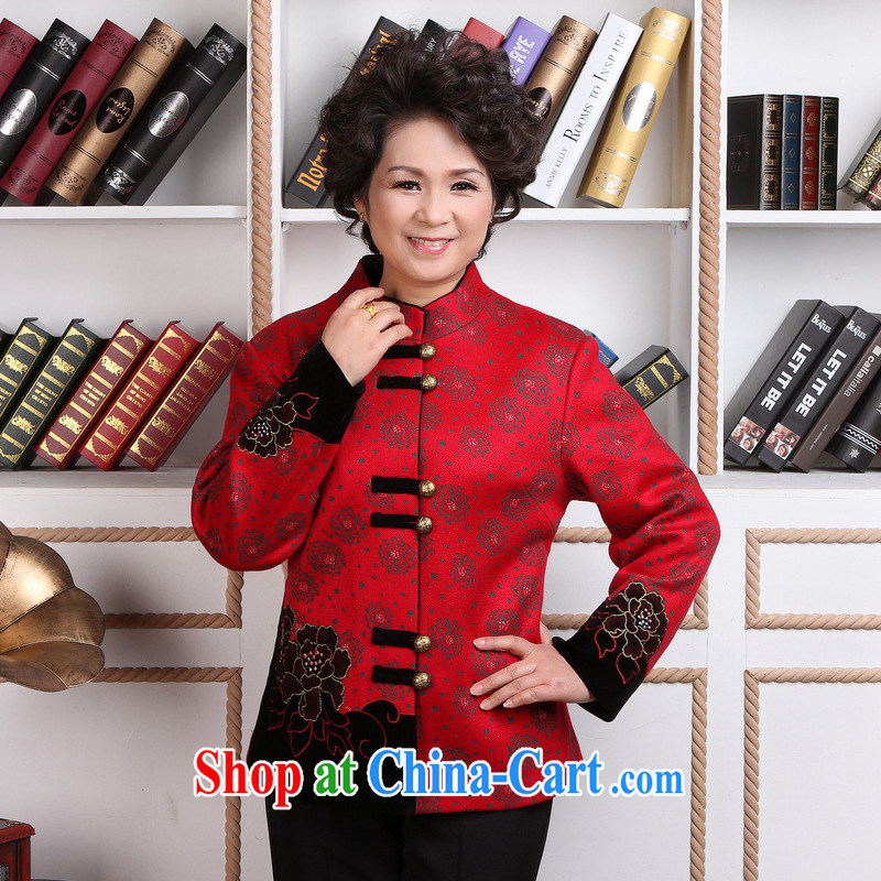 Jing An older woman with short winter clothes T-shirt jacket, for Chinese female wool jacket? Tang - 2 red 3 XL