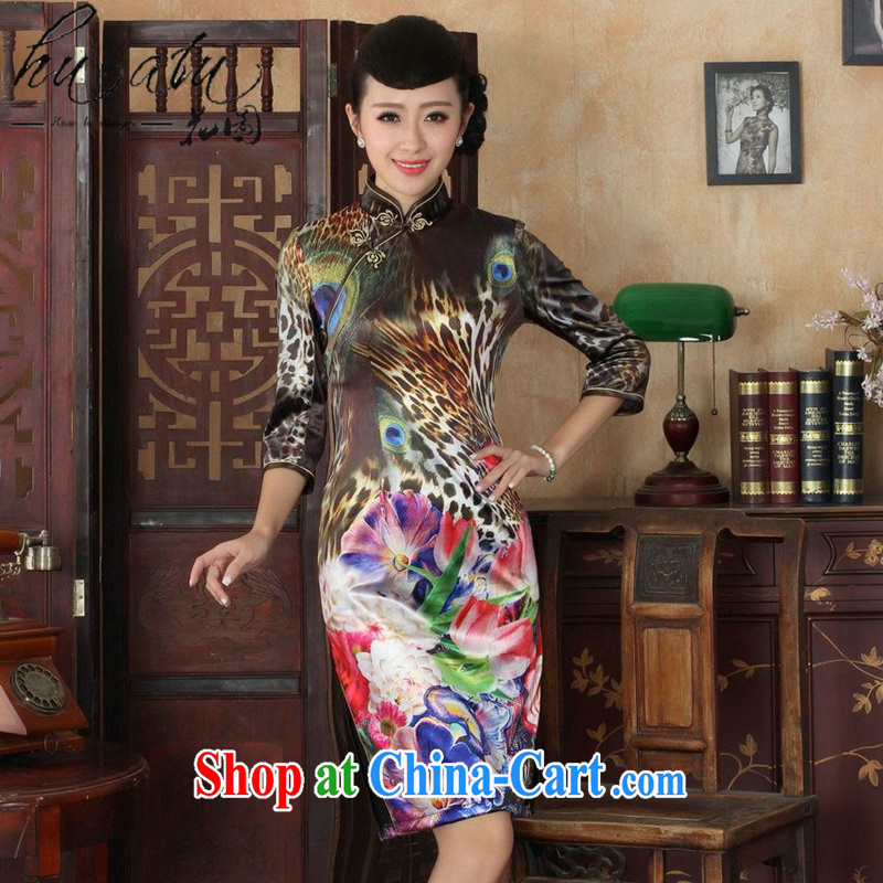 Take the new autumn dresses retro gold velour cheongsam elegant graphics thin beauty fashion ladies cuff in cheongsam dress attire such as figure 3 XL