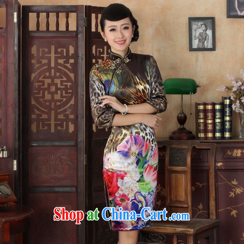 An Jing Chinese improved cheongsam dress long skirt-stretch the wool Peacock dresses 7 cuff picture color 2 XL