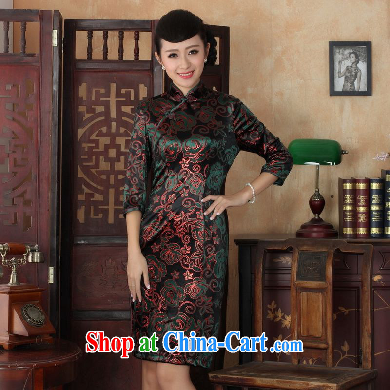 An Jing Chinese improved cheongsam dress long skirt-stretch the wool beauty dresses skirts 7 cuff picture color 2 XL