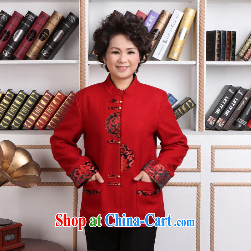 He Jing Ge older female Tang with winter clothes T-shirt jacket, for Chinese female wool jacket? Tang - 1 red 4 XL
