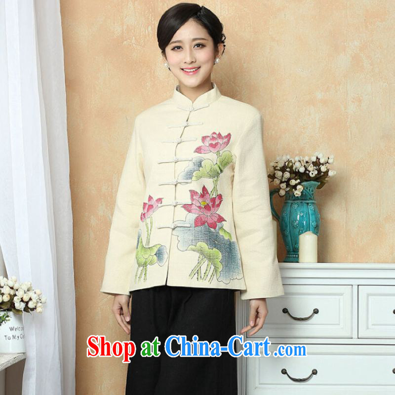 He Jing Ge female Tang with autumn and winter jackets with jacket, cotton for the Chinese T-shirt national costume show clothing - 2 beige 3XL