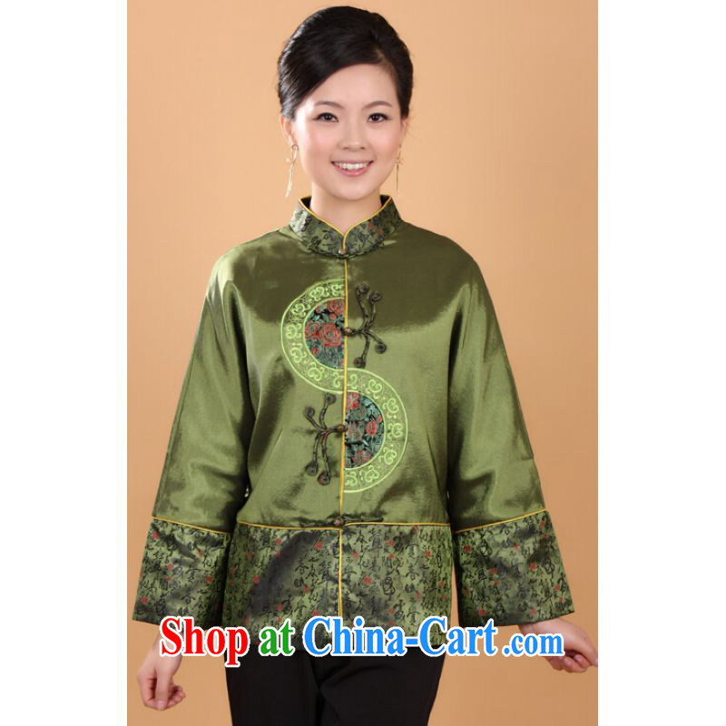 He Jing Ge female Tang with autumn and winter Load T-shirt jacket, collar damask Chinese T-shirt national costume - 1 green 3 XL