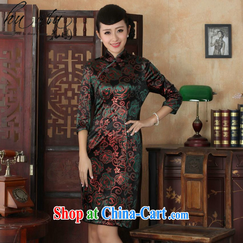 Take the Chinese qipao autumn is new, for the Chinese nation, women with the velvet cheongsam beauty skirt dresses show as figure 3 XL