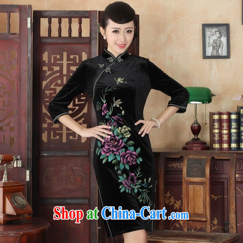 An Jing Chinese improved cheongsam dress long skirt-stretch the wool beauty dresses skirts 7 Cuff - A black 2 XL
