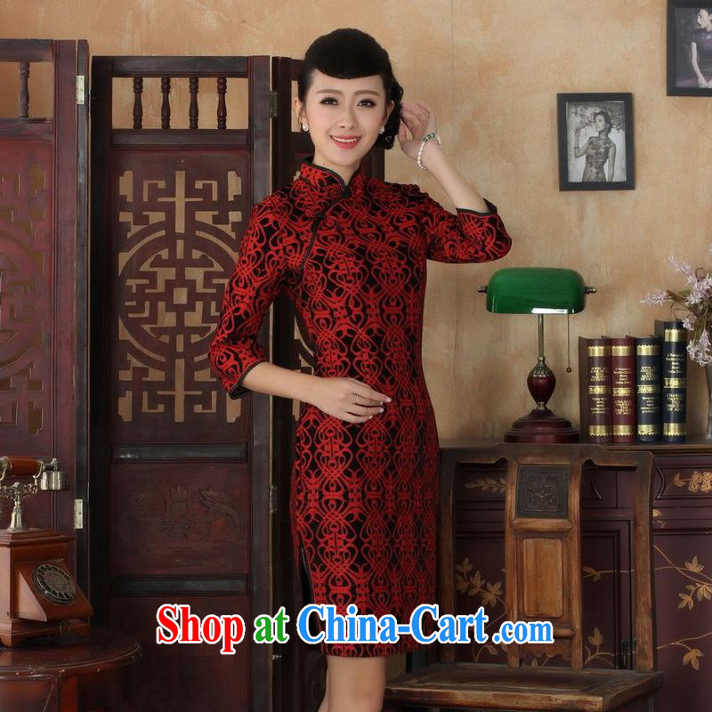 An Jing Chinese improved cheongsam dress long skirt-stretch lace gold velour cheongsam beauty skirt 7 cuff TD 0025 Map Color 2 XL