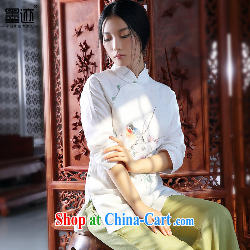 2014 ink autumn and winter, hand-painted cotton the Chinese girl Chinese Han-T-shirt ethnic wind retro jacket white XXL - pre-sale 3 day shipping