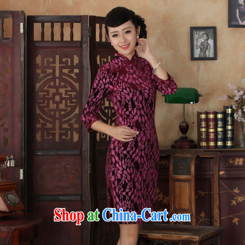 An Jing Chinese improved cheongsam dress long skirt-stretch lace gold velour cheongsam beauty skirt 7 cuff TD 0019 Map Color 2 XL