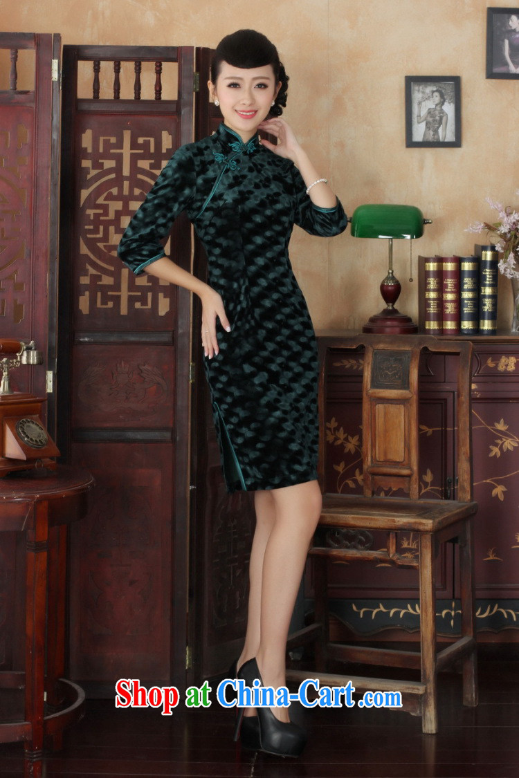 An Jing Chinese improved cheongsam dress long skirt-stretch the wool beauty dresses skirts 7 cuff wine red 2 XL pictures, price, brand platters! Elections are good character, the national distribution, so why buy now enjoy more preferential! Health
