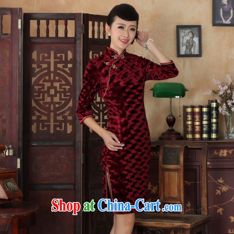 An Jing Chinese improved cheongsam dress long skirt-stretch the wool beauty dresses skirts 7 cuff wine red 2 XL