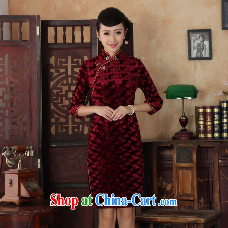 An Jing Chinese improved cheongsam dress long skirt-stretch the wool beauty dresses skirts 7 cuff wine red 2 XL, an Jing, shopping on the Internet