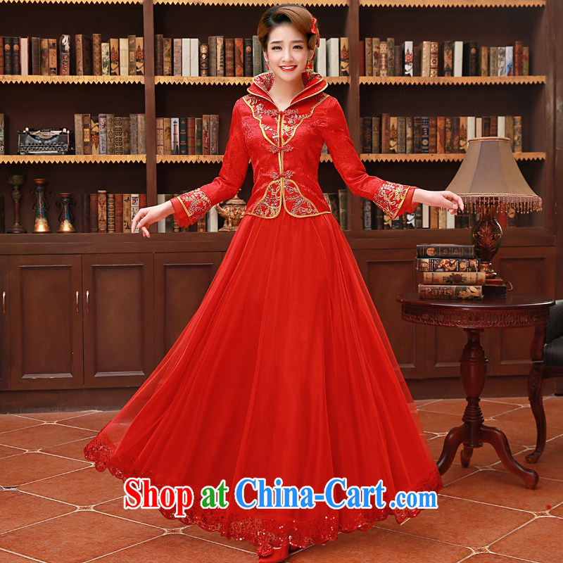 Service was good in autumn and winter 2015 new, red bride Chinese wedding dress toast serving married Yi long-sleeved dresses, winter, long dress 2XL