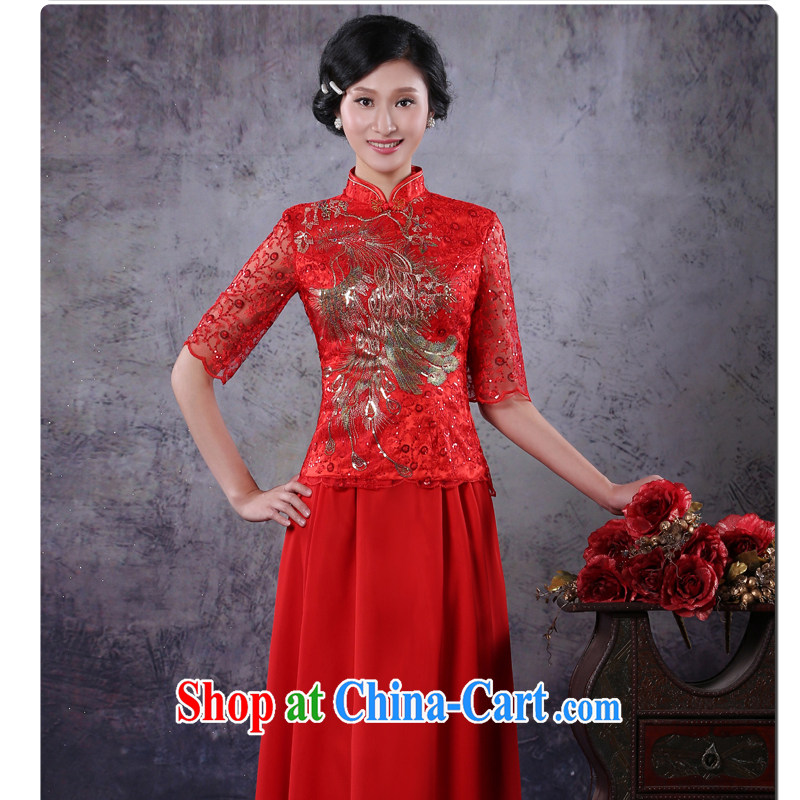 There is embroidery bridal wedding dresses skirt red bows, serving New Chinese Antique improved long-sleeved winter red XXL waist 2 feet 4