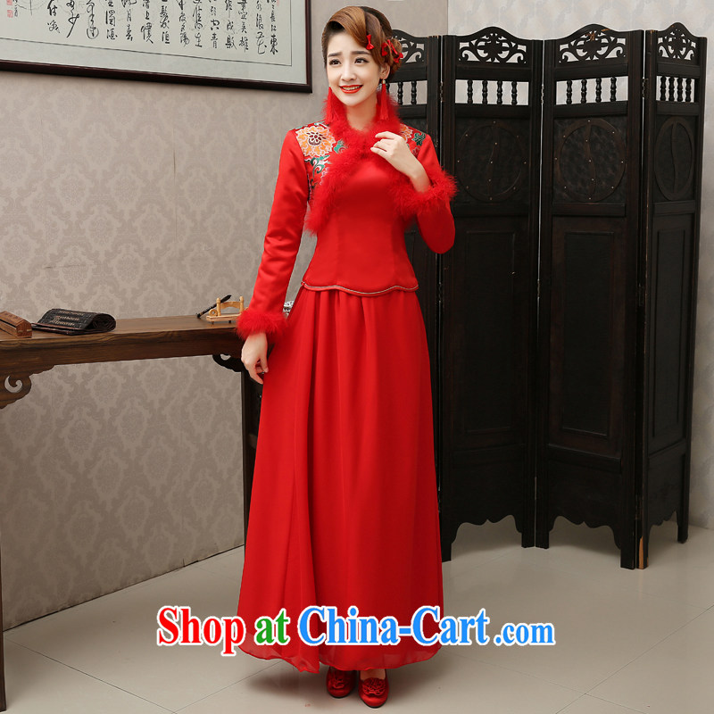 There is embroidery bridal 2014 new autumn and winter the cotton thick long-sleeved dresses wedding toast Service Bridal red long dress red XXL waist 2 feet 4
