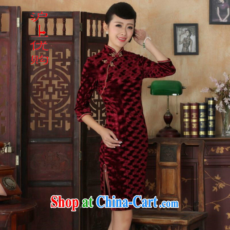 Shanghai, optimize purchase Chinese improved cheongsam dress long skirt-stretch the wool beauty dresses skirts 7 cuff wine red 2 XL