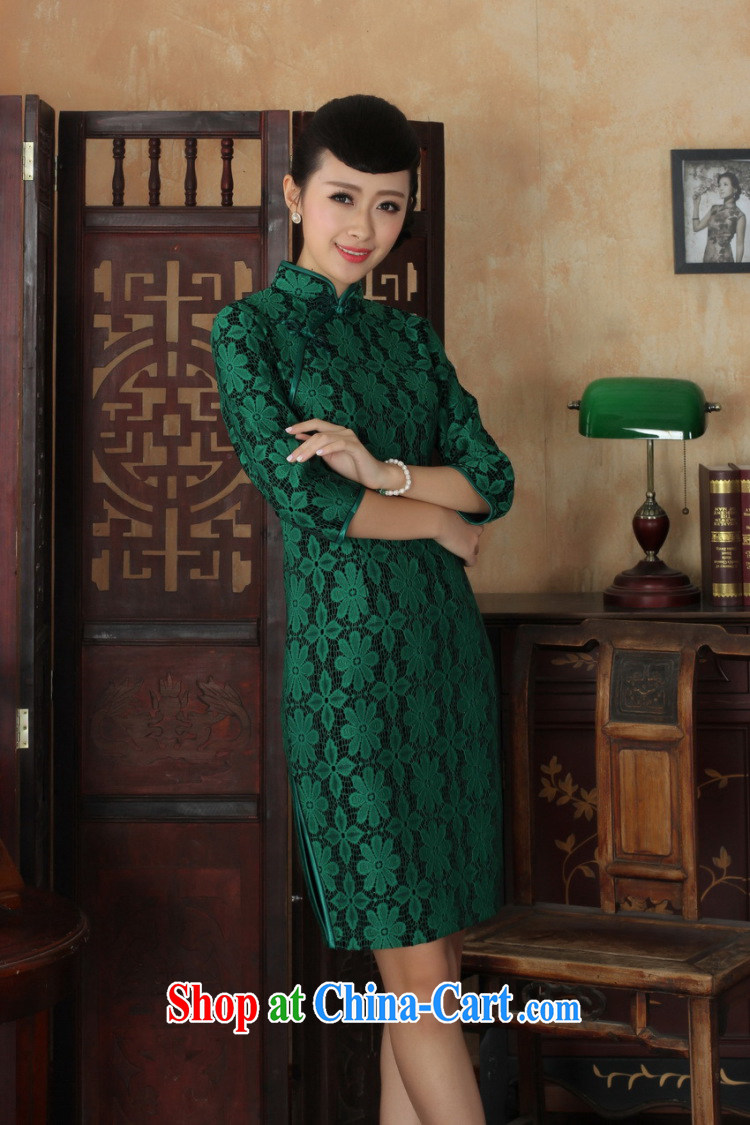 Shanghai, optimize purchase Chinese improved cheongsam dress long skirt-stretch lace gold velour cheongsam beauty skirt 7 cuff TD 0021 Map Color 2 XL pictures, price, brand platters! Elections are good character, the national distribution, so why buy now enjoy more preferential! Health