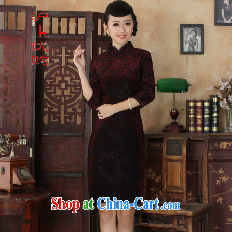 Shanghai, optimize purchase Chinese improved cheongsam dress long skirt-stretch lace gold velour cheongsam beauty skirt 7 cuff TD 0021 Map Color 2 XL