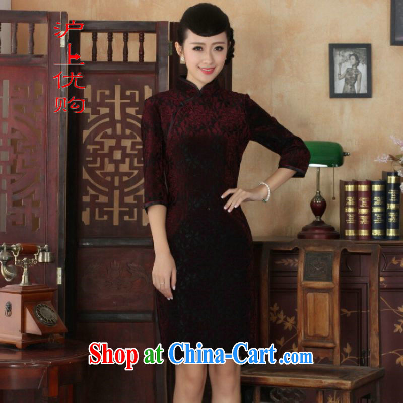 Shanghai, optimize purchase Chinese improved cheongsam dress long skirt-stretch lace gold velour cheongsam beauty skirt 7 cuff TD 0021 Map Color 2 XL, Shanghai, optimization, and, the Internet shopping
