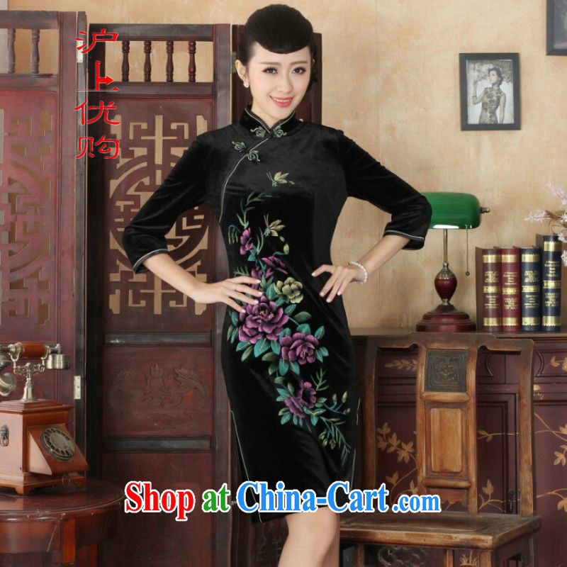 Shanghai, optimize purchase Chinese improved cheongsam dress long skirt-stretch the wool beauty dresses skirts 7 Cuff - A black 2 XL
