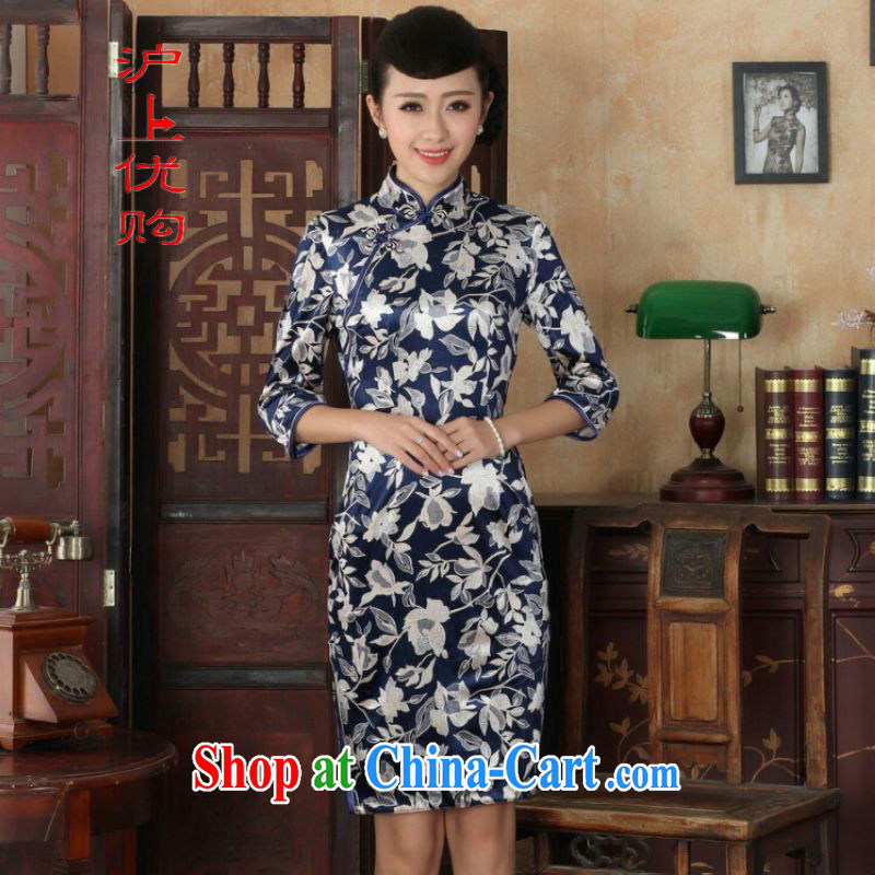 Shanghai, optimize purchase Chinese improved cheongsam dress long skirt-stretch the wool beauty dresses skirts 7 Cuff - A picture color 2 XL
