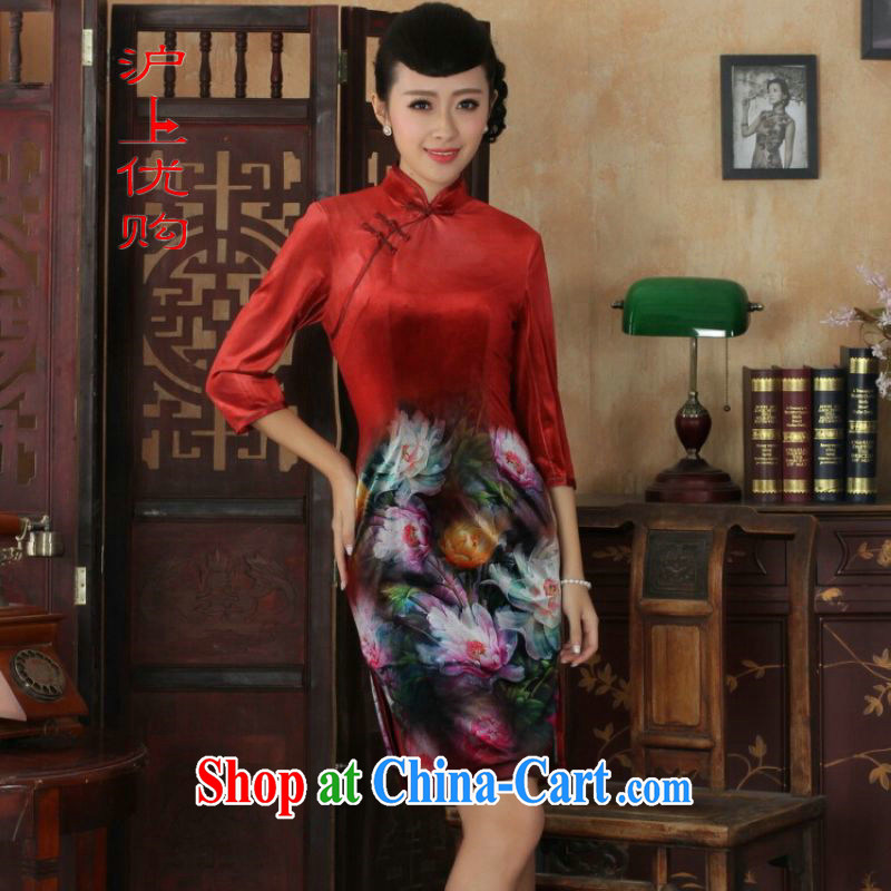 Shanghai, optimize purchase Chinese improved cheongsam dress long skirt-stretch the wool beauty dresses skirts 7 cuff picture color 2 XL