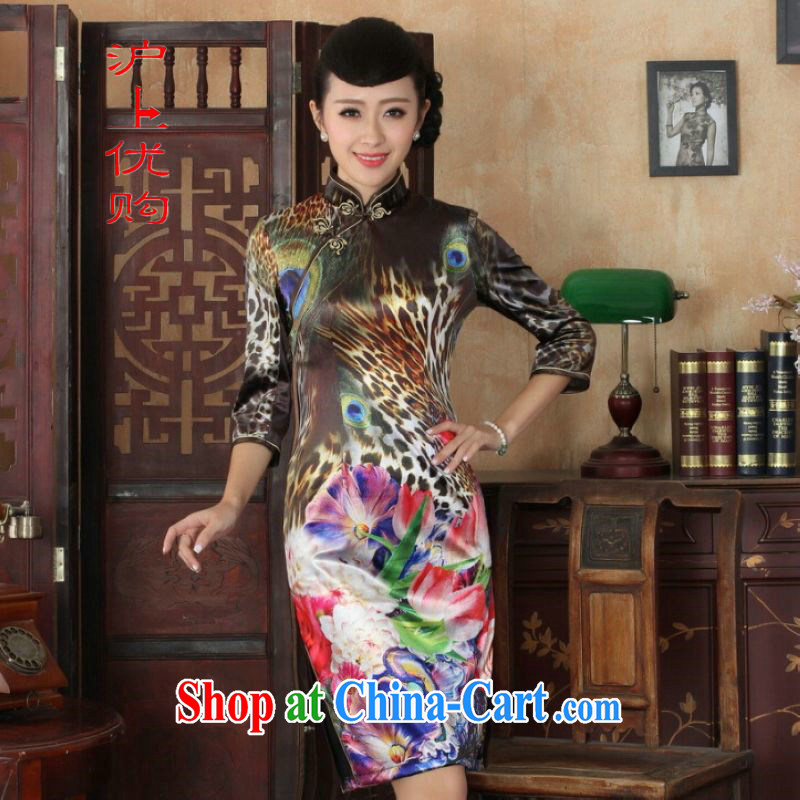 Shanghai, optimize purchase Chinese improved cheongsam dress long skirt-stretch the wool Peacock dresses 7 cuff picture color 2 XL