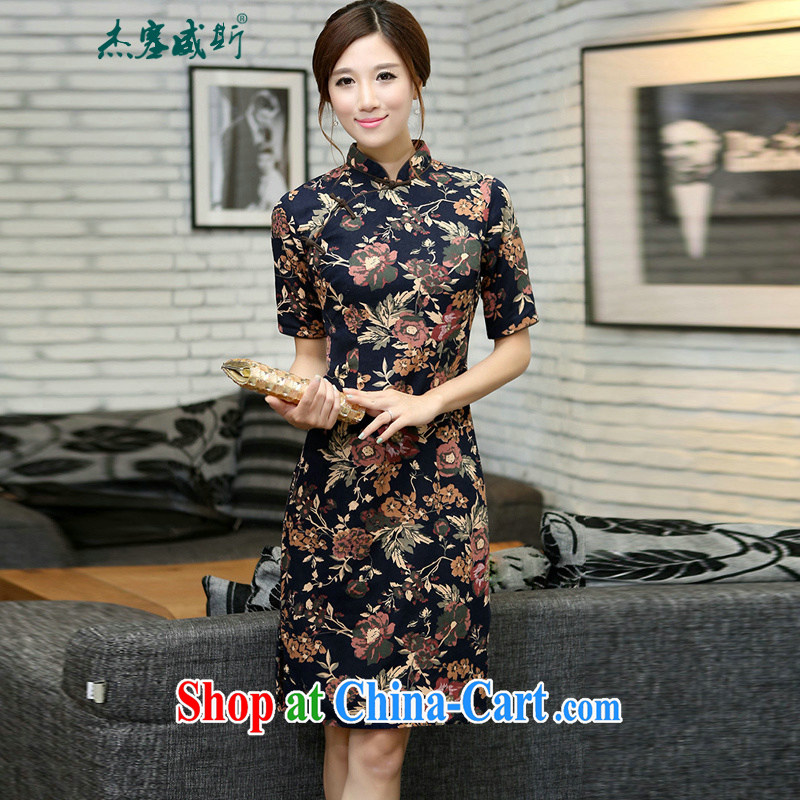 Jessup, China wind Spring and Autumn and female linen collar, manual and knee long cheongsam KEA commented, Autumn for XXL