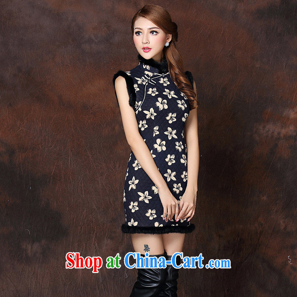 Health Concerns 2014 autumn and winter, the girls improved stylish spell gross sleeveless quilted is not the Lao short cheongsam QF 141,015 picture color XXL
