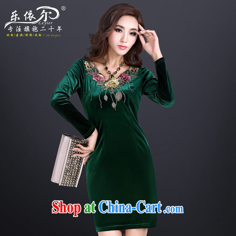 Health concerns and, in accordance with new wool long-sleeved dresses retro embroidered cheongsam dress improved stylish beauty autumn skirt black XXL
