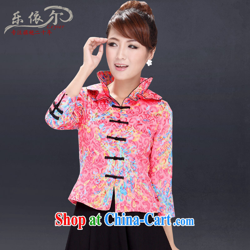 Health Concerns 2014 factory outlets and, in accordance with special package Chinese daily Tang Women's clothes 7 cuff retro Kit pink T-shirt + pants XL