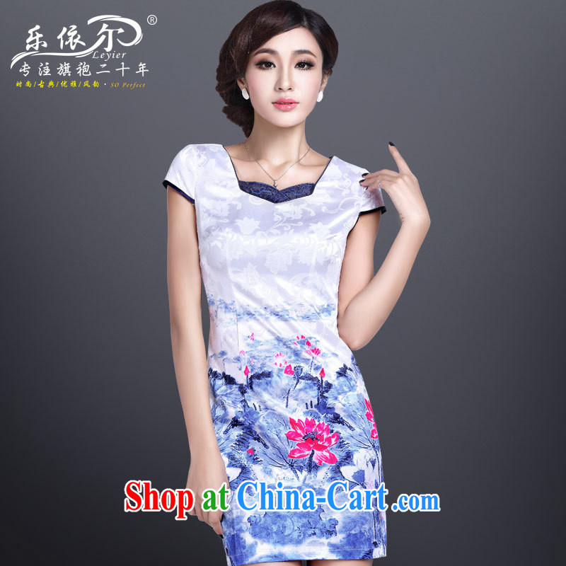 Health concerns and, in accordance with 2014 new hand-painted cheongsam dress elegant sense of improved cheongsam short beauty graphics thin retro white XXL