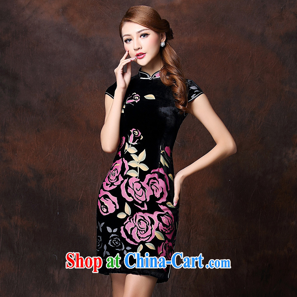 Health Concerns 2014 new female improved stylish retro sauna silk sleeveless low-power's daily short cheongsam QF 141,017 blue XXXXL