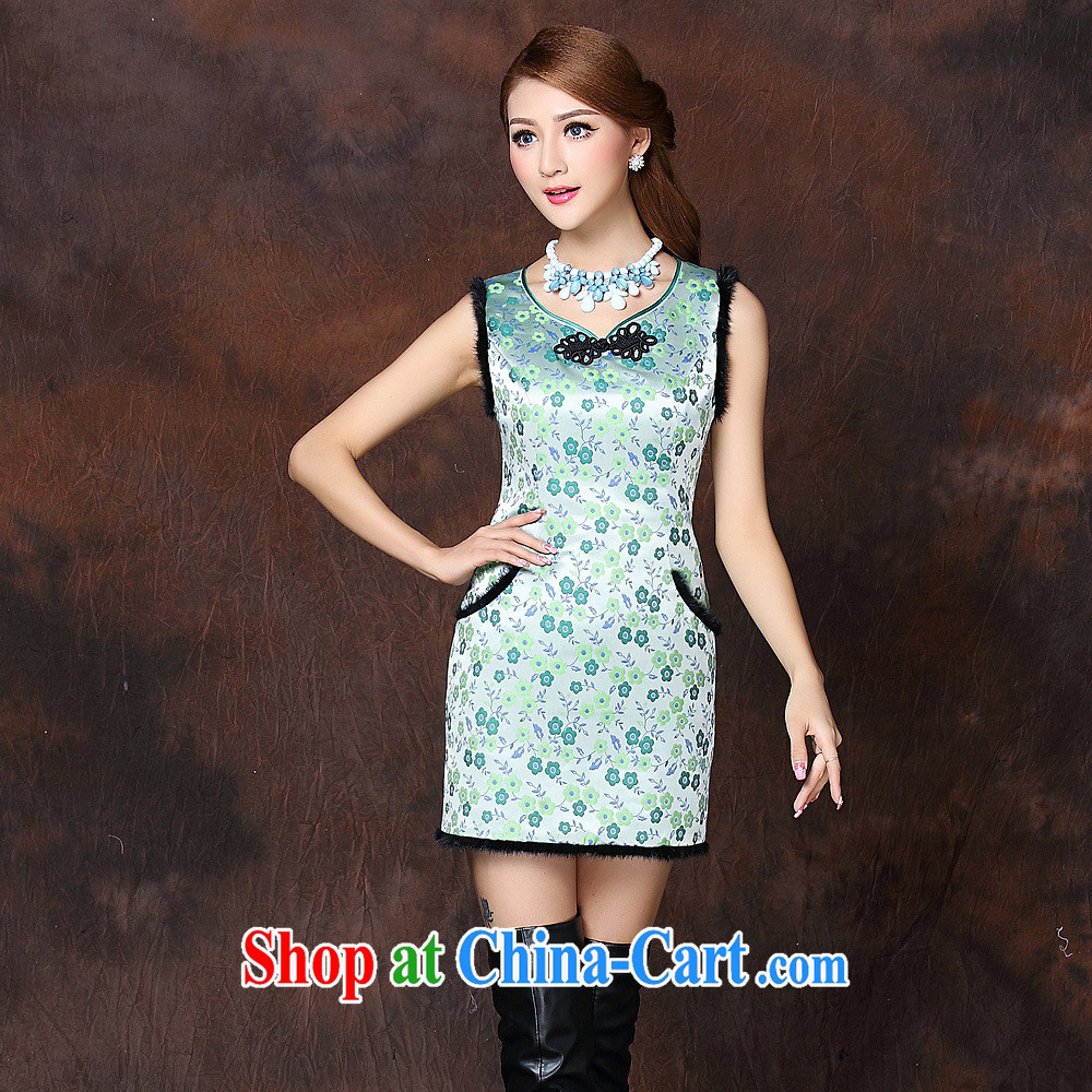 Health Concerns 2014 autumn and winter, the girls improved stylish spell gross sleeveless quilted is not the Lao short cheongsam QF 141,012 fruit green XXL