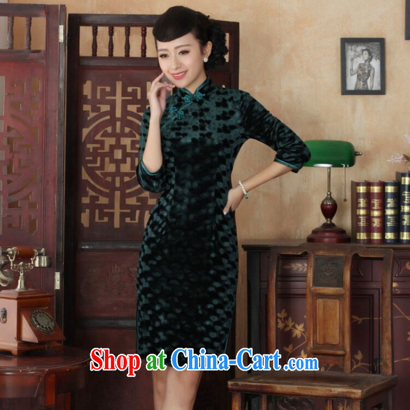 He Jing Ge Chinese improved cheongsam dress long skirt-stretch the wool beauty dresses skirts 7 Cuff - B green 2 XL