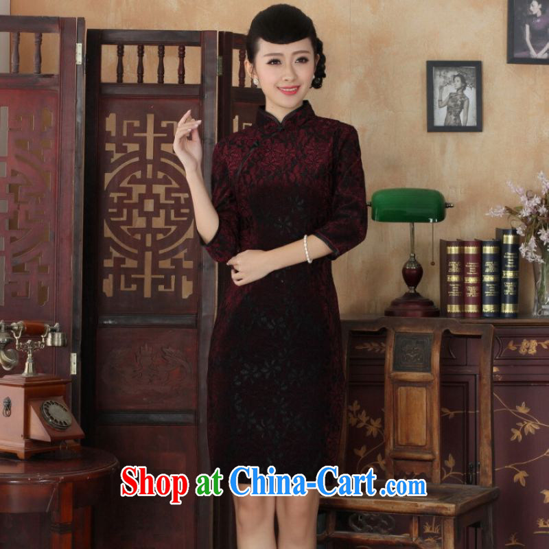 He Jing Ge Chinese improved cheongsam dress long skirt-stretch lace gold velour cheongsam beauty skirt 7 cuff TD 0021 Map Color 2 XL