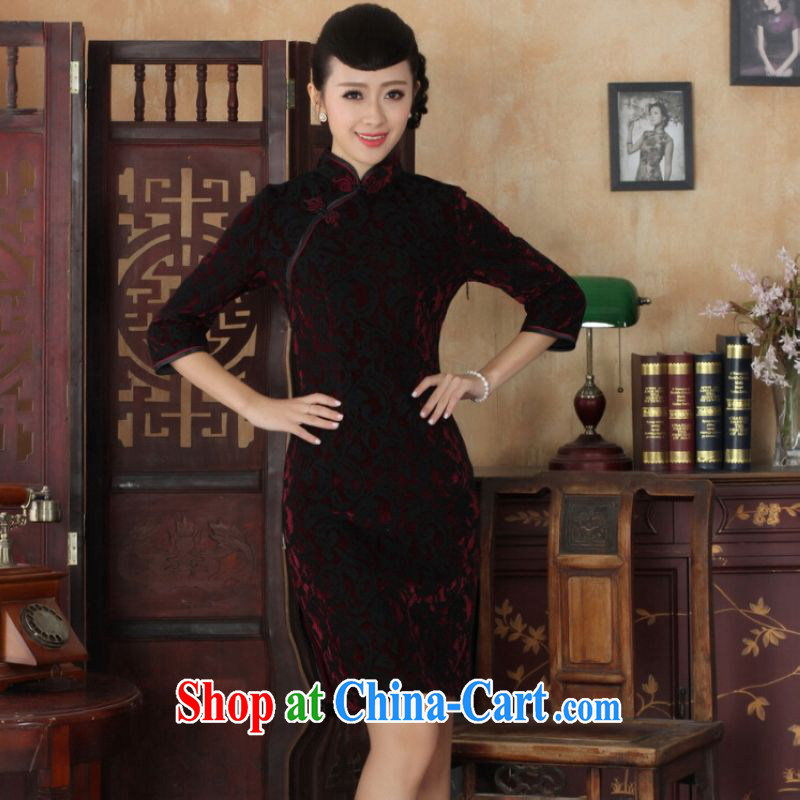 He Jing Ge Chinese improved cheongsam dress long skirt-stretch lace gold velour cheongsam beauty skirt 7 cuff TD 0022 Map Color 2 XL