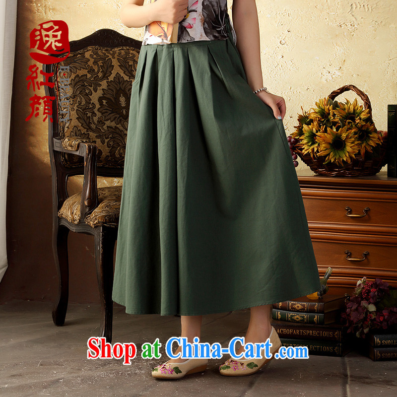 once and for all and fatally jealous green ink new summer arts small fresh, cotton body long skirt Ethnic Wind elegant long skirt green all code