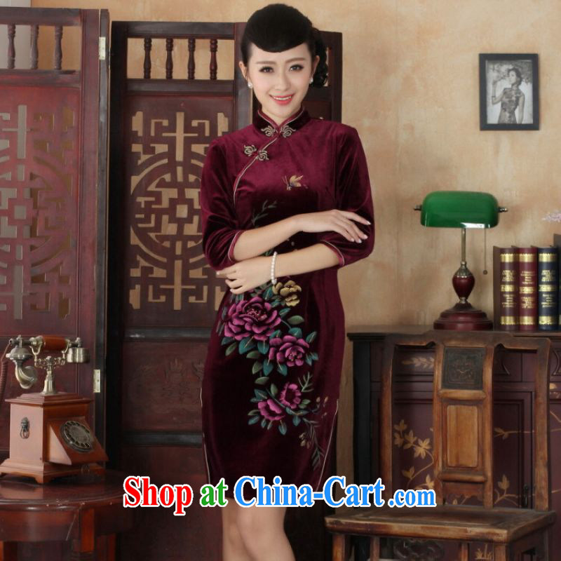 He Jing Ge Chinese improved cheongsam dress long skirt-stretch the wool beauty dresses skirts 7 cuff wine red 2 XL