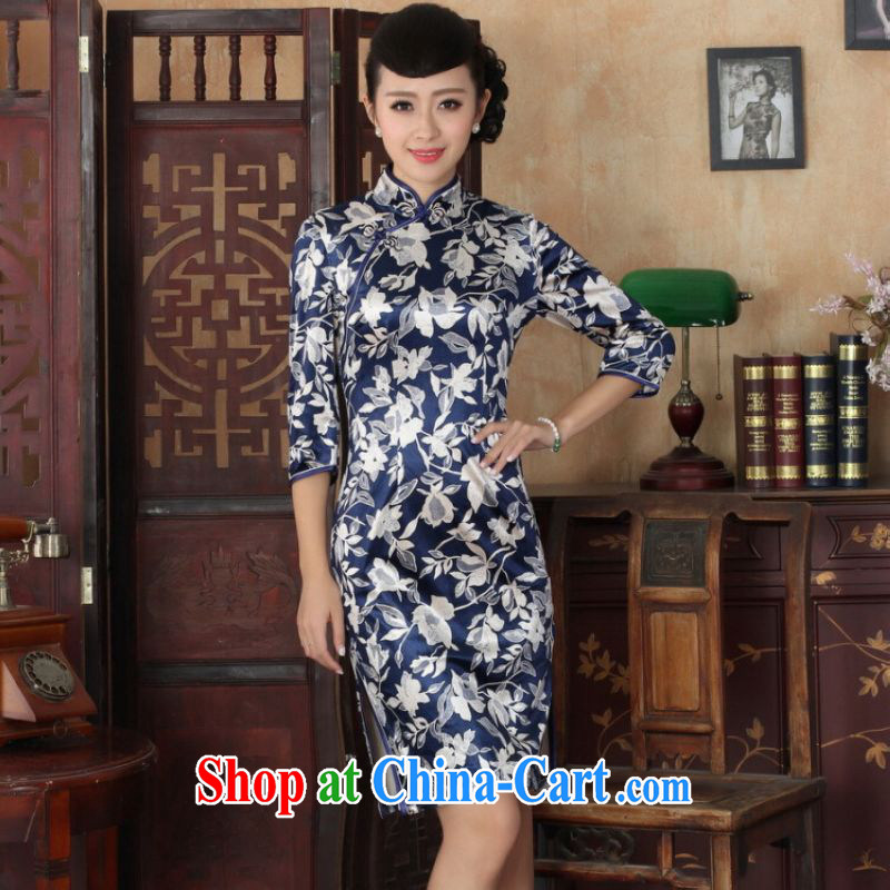 He Jing Ge Chinese improved cheongsam dress long skirt-stretch the wool beauty dresses skirts 7 Cuff - A picture color 2 XL
