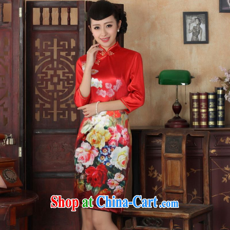 He Jing Ge Chinese improved cheongsam dress long skirt-stretch the wool beauty dresses skirts 7 cuff picture color 2 XL