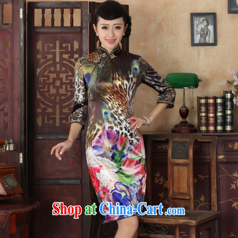 He Jing Ge Chinese improved cheongsam dress long skirt-stretch the wool Peacock dresses 7 cuff picture color 2 XL