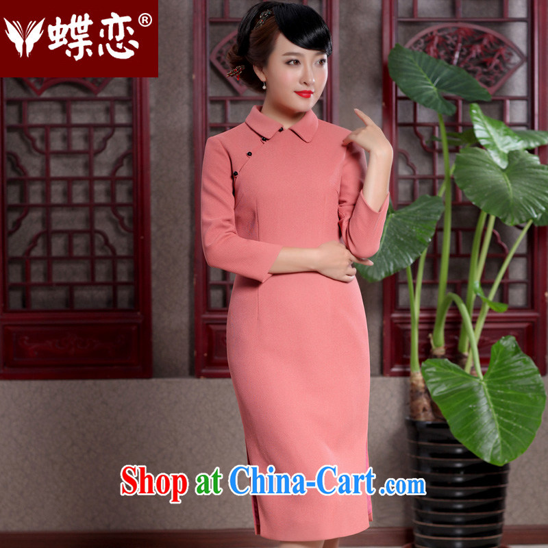 Butterfly Lovers 2015 spring new improved stylish Pearl snap cheongsam dress Daily Beauty long cheongsam 49,107 orange XXL