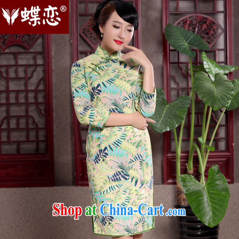 Butterfly Lovers 2015 spring new retro 7 cuff cheongsam dress stylish improvements in long cotton robes the commission 49,109 Shee Chiung-chih pre-sale 15 days out XXL