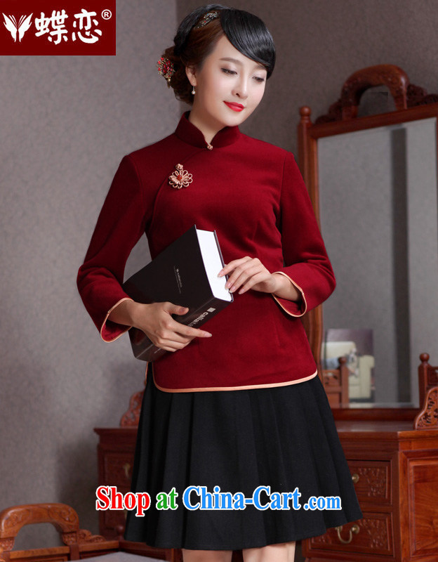 Butterfly Lovers 2015 spring new China Daily, T-shirt dresses improved wool? Tang mounted T-shirt 49,111 wine red XXL