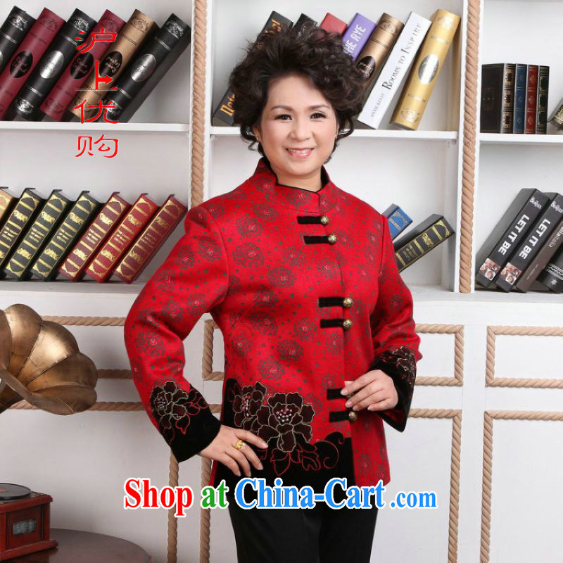Shanghai, optimize the Pre-IPO Share Option Scheme older female Chinese winter clothes T-shirt jacket, for Chinese female wool jacket? Tang - 2 red 3 XL