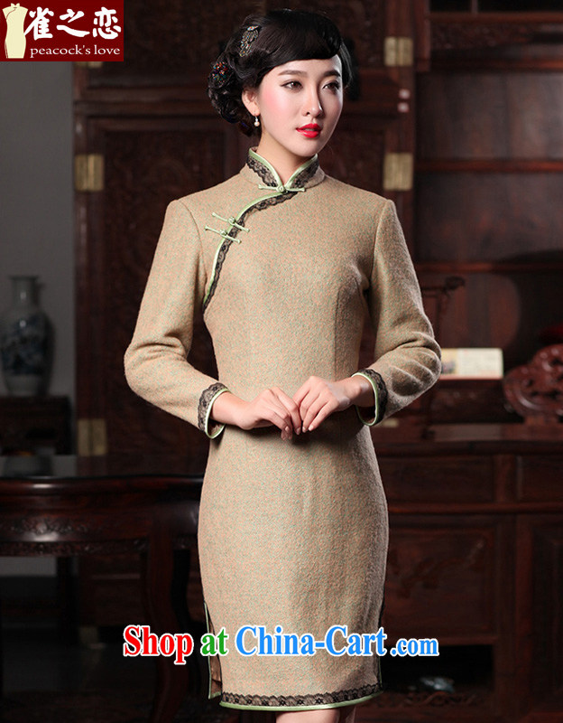Bird lovers of oriental love 2015 spring new, thick warm lace stitching so gross cheongsam dress QC 589 figure XL