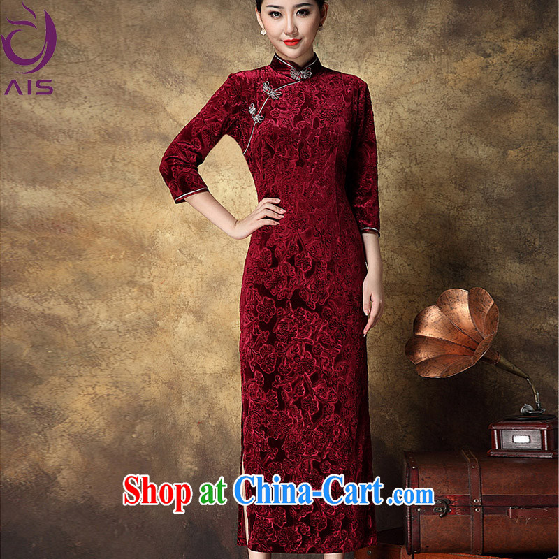 Still, the 2014 autumn and winter Chinese female decoration, dinner will wedding Chinese improved stylish retro dresses wool ultra-long cheongsam red + cloak